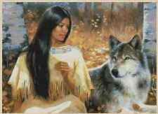 Cross Stitch Chart NATIVE AMERICAN GIRL with WOLF - No.3-271 (Large Print)