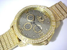 Iced Out Bling Bling Big Case Hip Hop Techno King Men's Watch Gold Item 2602