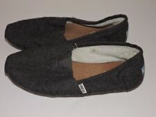 Toms Gray Slippers 10 M Slip On Shoes Casual Insulated Loafers Shearling Lining