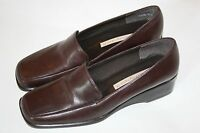 "EASY SPIRIT BROWN LEATHER 6.5 B 2A LOAFER 1.5"" HEEL SHOES CUSHIONED Womens"