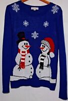 Carolyn Taylor Ugly Christmas Womens Sweater Snowman 3D Scarf Blue Red Black XL