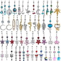 50-Styles Flower Crystal 316L Steel Dangle Navel Belly Button Ring Bars Piercing