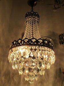 "Antique Vnt French Crystal Casting Brass Chandelier Lamp Light 1940s 12"" dmt"