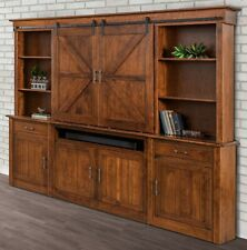 Amish Barn Doors TV Entertainment Center Wall Unit Sliding Track Solid Wood
