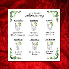 Funny Christmas Card - Gin Vodka Whisky spirit - humorous amusing drinking adult
