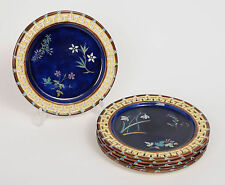 Set of 6 Antique Wedgwood Majolica Dessert Plates with Floral Designs c1874