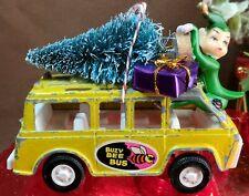 New listing Vintage Tootsie Toy Car w Bottle Brush Tree, Elf Christmas Ornament Buzy Bee Bus