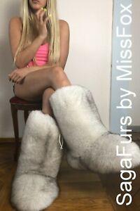 Saga Blue fox fur boots. High. Double side fur.