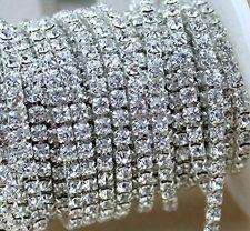 10 Yard Crystal Rhinestone Close Chain Clear Trim Sewing Craft 2mm Silver color