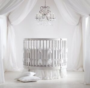 "42"" Round Ruffle Crib Baby Bedding Set Fitted Skirt Comforter Pillowsham Bumper"