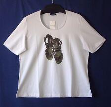 Samoon Shirt Gerry Weber Gr.46 weiß Baumwolle Stretch Schuhmotiv kurzarm Neu
