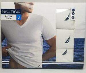 Nautica V-neck T-shirt 3 Pack Medium White New