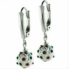 925 Silver Green, Red, & Blue CZ Bead Lever-Back Earrings