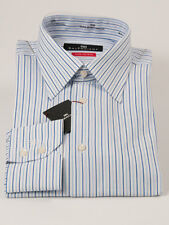 New Balenciaga Coton Blue Stripes Long Sleeve Dress Shirt Size 41 / 16