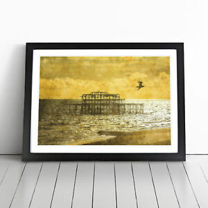 Brighton West Pier At Sunset Painting Wall Art Framed Print Picture