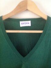 BRORA - linen/cotton sweater V-neck EMERALD GREEN - size 12-16 - slight slub