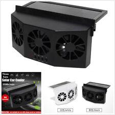 Black 4W Three Fans Solar Powered Car Window Ventilator Cooler Air Vent Radiator