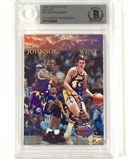 MAGIC JOHNSON JERRY WEST Signed 1996 Topps NBA Stars LAKERS card BGS BAS Beckett
