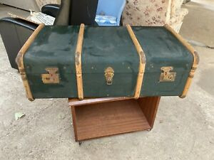 Vintage Steamer Blue Trunk Chest Coffee Table Toy Box Storage