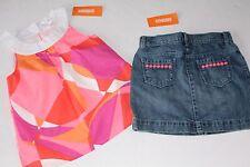 Gymboree Bright and Beachy Girls Size 6 Mod Top Shirt Denim Skirt NEW NWT
