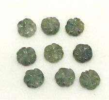 Natural MOSS AGATE carved flower bead 10mm(w) x 10mm(l) - 9 beads