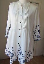 NWT Reborn XL Blouse White/blue floral pattern $95
