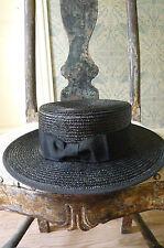 CHANEL chapeau en paille hat straw noir