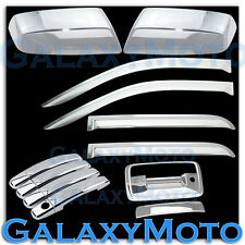 14-15 Silverado 1500 Crew Chrome Mirror+4 Door Handle+Tailgate KH+Window Visor