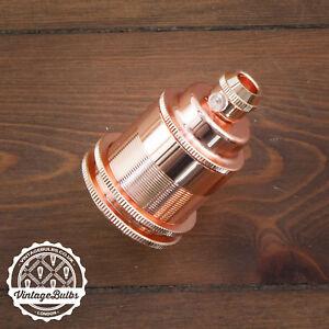 Vintage metal pendant lamp holder Copper retro antique style light E27 #2