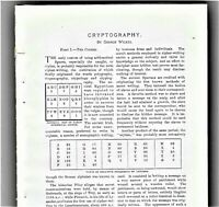 Cryptography Ciphers Secret Codes 14-pg article, 30 examples, Cosmopolitan 1904