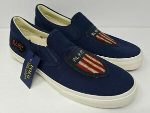 NEW Polo Ralph Lauren Thompson Blue USA Flag Shield Slip On Mens Shoe