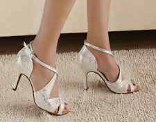 Blanc & Argent Salsa Tango Ballroom Latin Valse Danse Chaussures UK Taille 5