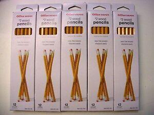 Office Depot  #2 Wood Pencils 5 Packs X 12 Per Pack 60 total pencils Max Lot