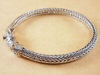 "New Bali Tulang Naga Foxtail Franco Wheat 925 Sterling Silver Bracelet 7.75"" 33g"