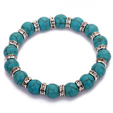 Beautiful Turquoise Stone Bead Bracelet with Imitation Diamond Spacer Beads