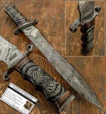 MPACT CUTLERY RARE CUSTOM DAMASCUS DAGGER KNIFE BULL HORN HANDLE SCRIMSHAW WORK