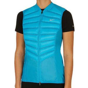 616257-407 NWT Women's Nike Aeroloft 800 Down Running Vest, Blue. XS