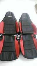 2005-2011 C6 Corvette Genuine Leather Black & Red Seat Covers for ZO6 Sport