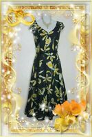 Laura Ashley Dress 14 Fit Flare Cotton Linen Midi Lined Grey Yellow Floral belt