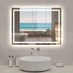 Bathroom Mirror with LED Light Demister Pad Anti-fog Touch Switch Wall Mounted