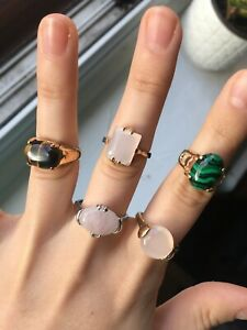 Job lot of rings with colourful stones, costume jewellery