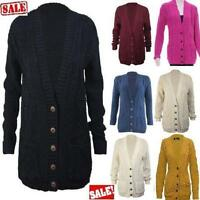 Womens Long Chunky Cable Knitted Button Grandad Long Sleeve Cardigan 8-14