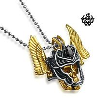 Gold skull silver mask pendant stainless steel necklace soft gothic