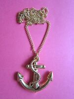"""New Plastic Gold Anchor GP16"""" Necklace Nautical Vintage Kitsch Fancy Dress"""