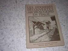 1930.dernières découvertes archéologie Italie / Pellati