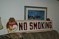Vtg Borden's Ice Cream wood hand painted general store Dairy sign No Smoking