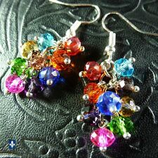 ♥ Lovely  Multicolor Crystal Cluster Plated Silver Earrings