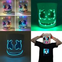 DIY LED  Marshmallow Mask Cosplay Halloween Mask Prop Party DJ Masks for Bars