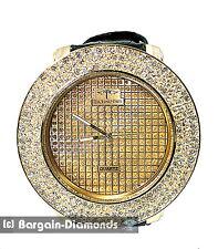 mens big hip hop 4-Row goldtone CZ ice out watch clubbing goldtone dial quartz