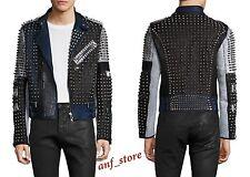 NWT Diesel Black Gold Studs Lustice Mens MOTORCYCLE Leather Jacket 48 / M $6750